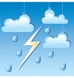 cloud rain drops and lightning vector image vector image