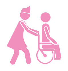 Color silhouette nurse helping another person push vector