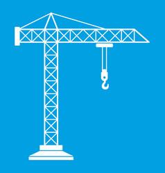 Construction crane icon white vector