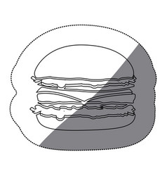 Contour hamburger fast food icon vector