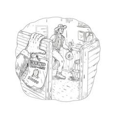 Cowboy robbing saloon drawing vector