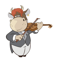 cute cow violinist cartoon vector image vector image