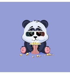 Emoji character cartoon panda chewing vector