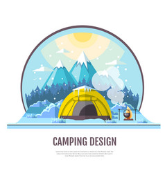 Flat style design of winter mountains and camping vector