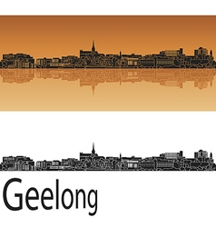 Geelong skyline in orange vector image