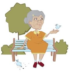 Grandmother on the bench feeding birds vector image