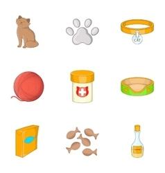 Happy cat icons set cartoon style vector
