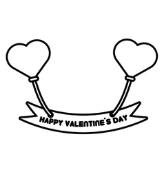 happy valentine day card balloons heart outline vector image