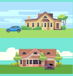 horizontal banners with houses with cars vector image vector image