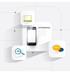 Infographic mobile phone 3d on white background vector