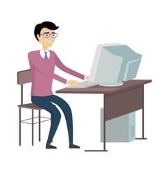 Man working with desktop computer vector
