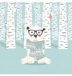 Merry Christmas postcard with hipster polar bear vector image