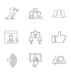 Message icons set outline style vector image