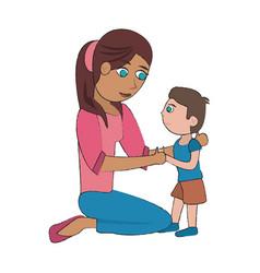 mom and son cartoon vector image vector image