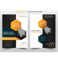 Orange black hexagon annual report brochure vector