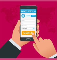 Railway tickets booking online app phone concept vector