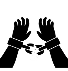 Raised hands with broken chains vector
