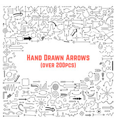 set of black hand drawn arrows vector image