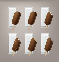 Set of ice cream in glaze on stick with nuts vector