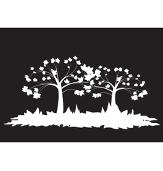 Silhouettes of two trees vector image