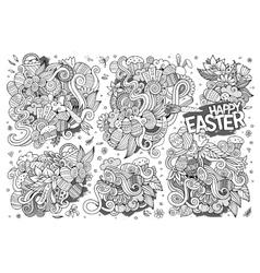 Sketchy hand drawn doodles cartoon set of vector image