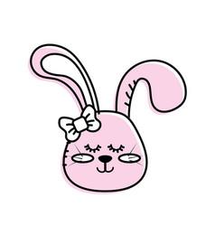 Teddy rabbit girl head animal wild vector