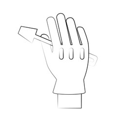 Tool held by hand with glove icon image vector