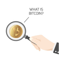 What is bitcoin btc hand magnifying glass isolated vector