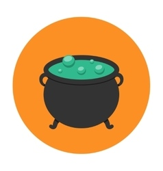 Witch cauldron icon flat vector