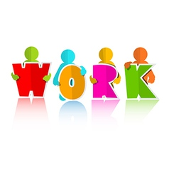 Work Title with Colorful Paper Cut People vector image vector image
