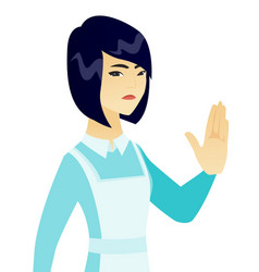 Young asian cleaner showing palm hand vector