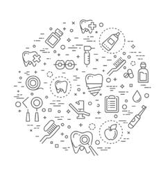 Set of web line icons - teeth dentistry medicine vector