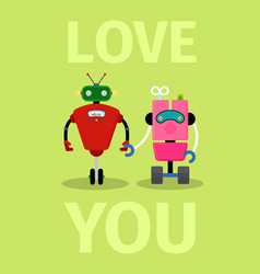 Love you card with robots vector