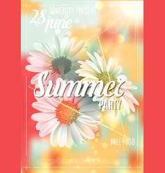 Summer background with chamomile and delicate vector