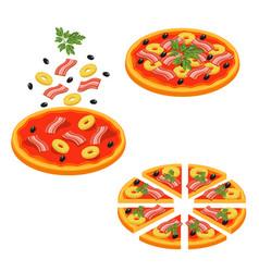 pizza sliced isometric icon set vector image