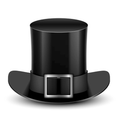 Black top hat with metallic buckle vector