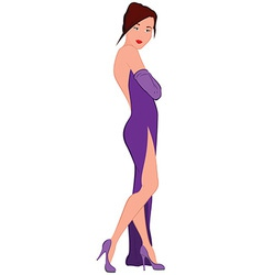 Cartoon young woman in purple evening dress with vector