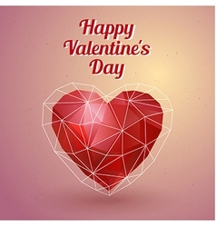Happy valentines day card polygonal heart vector