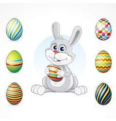 Cartoon bunny with eggs set vector