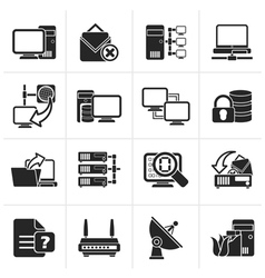 Black computer network and internet icons vector