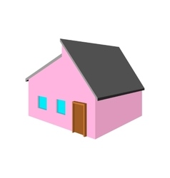 Pink small cottage cartoon icon vector