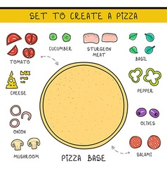 Doodle set of ingredients to build pizza template vector