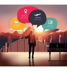 Infographic with silhouette people on airport back vector