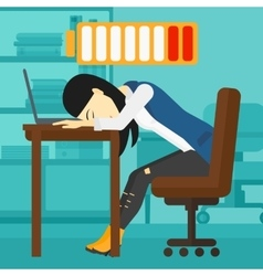 Employee sleeping at workplace vector