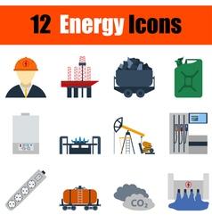 Flat design energy icon set vector image