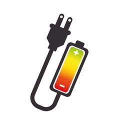 Battery level with wire isolated icon vector
