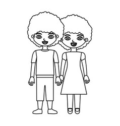 Black contour curly couple girl with dress and boy vector