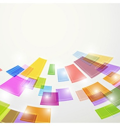 Bright colorful abstract square elements fly vector