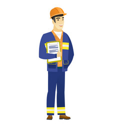 Builder holding clipboard with papers vector