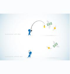 businessman with idea vs businessman without idea vector image vector image